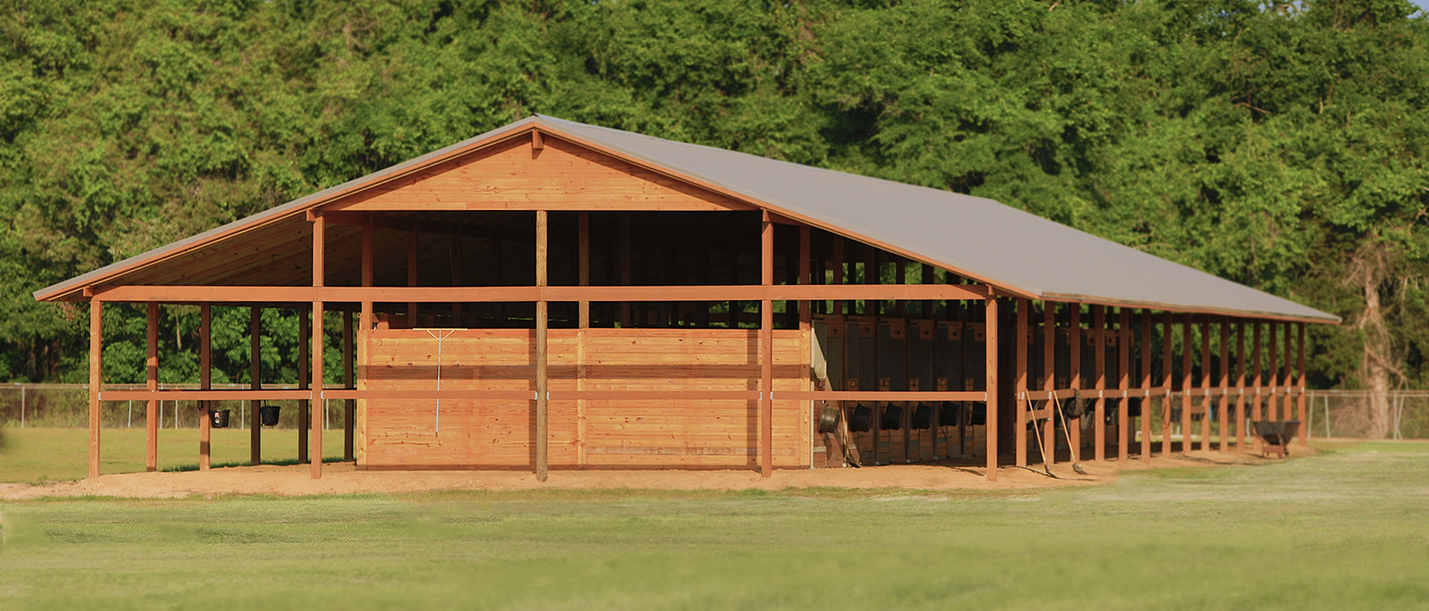 The recently completed stable at the facility